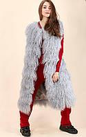 Жилетка безрукавка натуральный мех ламы серый