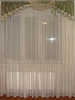 Ламбрекен Дуга оливковая органза, 2м, фото 1