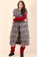 Жилетка безрукавка натуральный мех ламы темно-серый