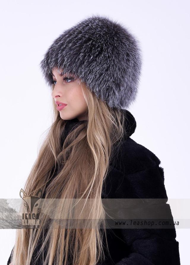 Пепельнеая женская шапка из финского песца