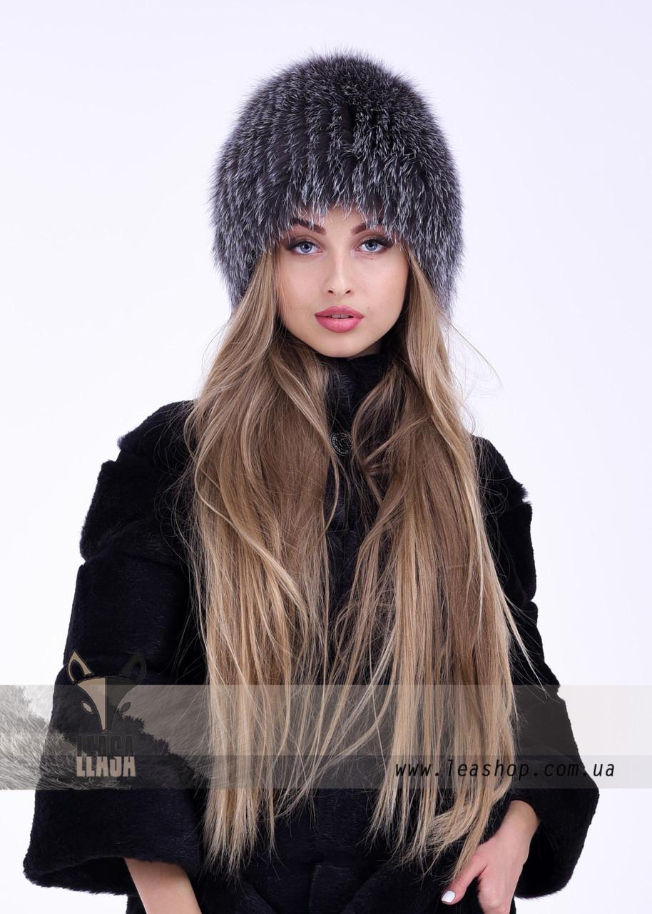 Пепельная женская шапка из финского песца
