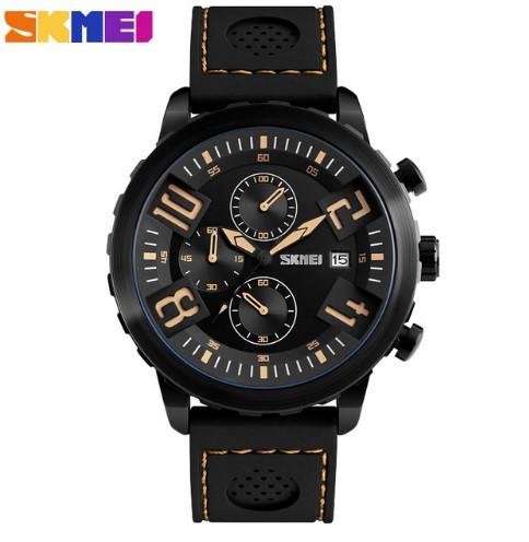 Мужские наручные часы Skmei 9153 черные с желтым