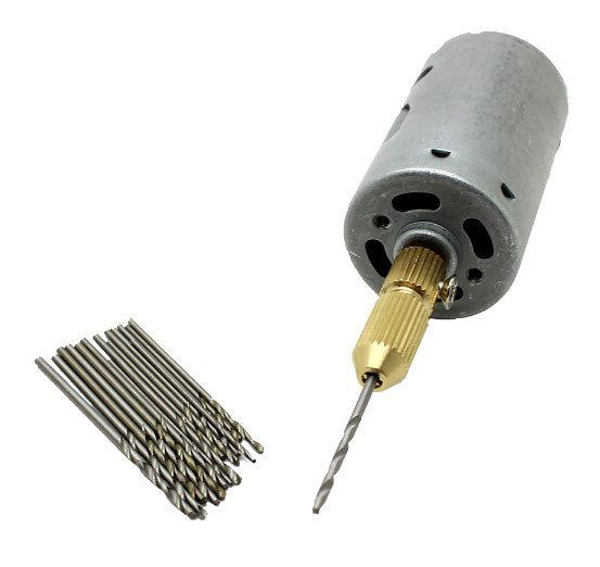 Ручная мини дрель PCB 3-12 В, 16 сверл в комплекте - 0,8-1,5 мм