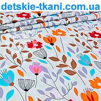 """Бязь польская """"Оранжевые цветы с серыми и коричневыми веточками""""  №971а"""