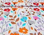 """Отрез ткани """"Оранжевые цветы с серыми и коричневыми веточками""""  №971а, фото 2"""