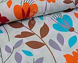"""Отрез ткани """"Оранжевые цветы с серыми и коричневыми веточками""""  №971а, фото 4"""