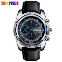 Мужские наручные часы Skmei 9156 серебристые с синим, фото 1
