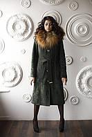 Женская модная дубленка Д-56 из искусственного дубляжа с натуральным мехом чернобурки.