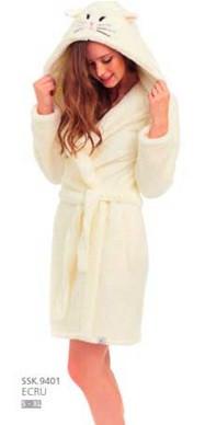 Халат женский домашний теплый банный зимний плюшевый махровый с капюшоном пояс Dobra Nocka 9401
