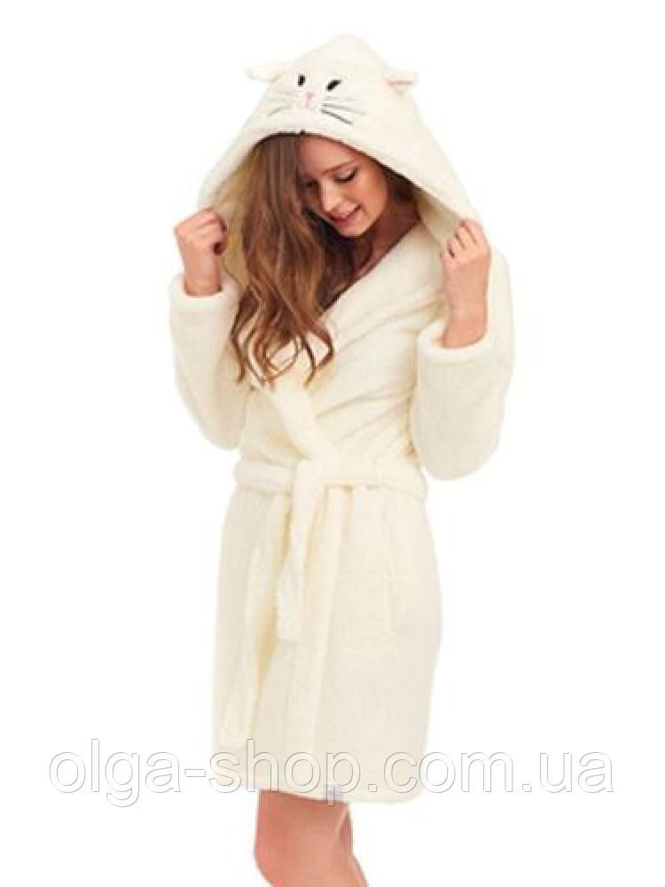 b501d938114e1 ... фото Халат женский домашний теплый банный зимний плюшевый махровый с  капюшоном пояс Dobra Nocka 9401, ...