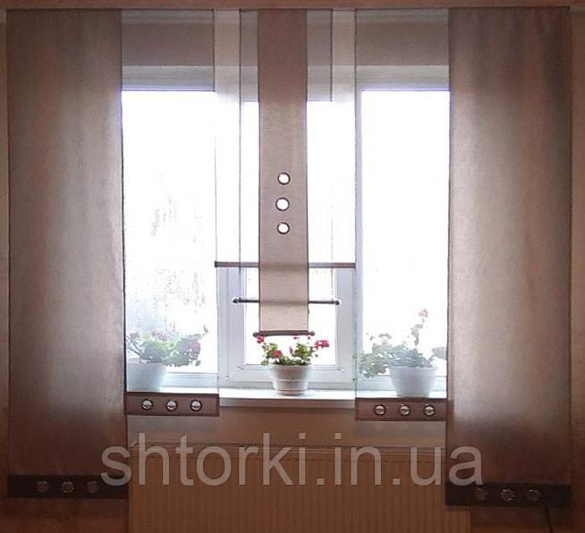 Комплект панельных шторок серебро и серые , 2м