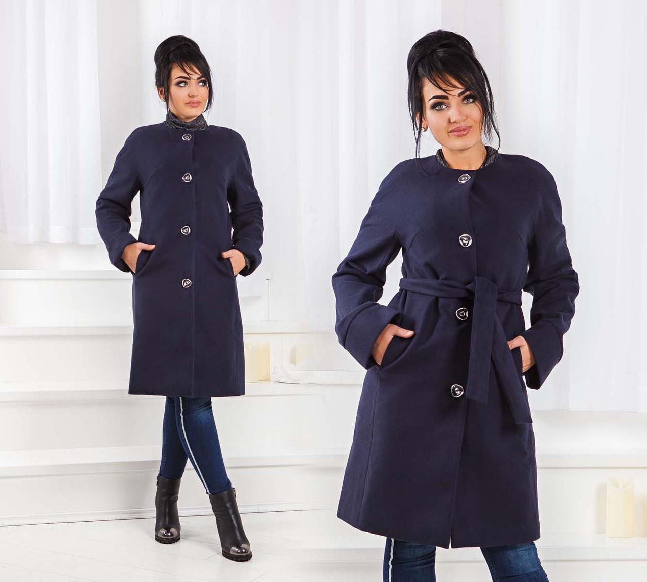 """Стильное женское пальто на синтепоне до больших размеров 467 """"Кашемир Реглан Пояс"""" в расцветках"""