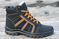 Зимние мужские спортивные ботинки, кроссовки, полуботинки черные прошиты высокая подошва 2017. Экономия