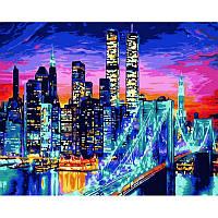 """Картина по номерам """"Бруклинский мост в огнях"""" [40х50см, С Коробкой]"""