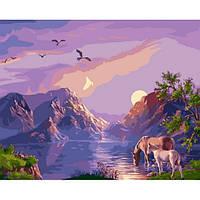 """Картина по номерам """"Закат в горах"""" 40х50см, С Коробкой"""