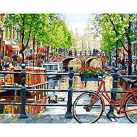 "Картина раскраска по номерам ""Прогулка на велосипеде"" набор для рисования"