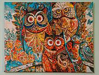 "Картина раскраска по номерам ""Совушки"" набор для рисования"