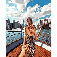 """Картина раскраска по номерам """"Следуй за мной. Пролив Ист-Ривер, Нью-Йорк"""" набор для рисования"""