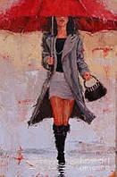 """Картины по номерам """"Под красным зонтом"""" [40х50см, С Коробкой]"""