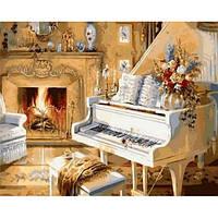 """Картина раскраска по номерам """"Белый рояль"""" набор для рисования"""