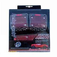 Комплект накладок на педали, черные-красные King XB-211