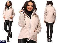 Зимняя женская короткая куртка с вязаными рукавами. Арт - 18287