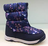 Сапоги дутики зимние на девочку, детская зимняя обувь BiKi Размеры 29-30