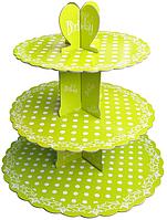 Трехъярусный стенд подставка для капкейков, EM0318 зеленый, белый горошек (Empire Эмпаир Емпаєр) 