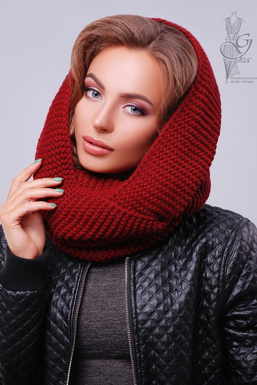 Вязаный шарф Снуд из смесовой пряжи шерсть-акрил