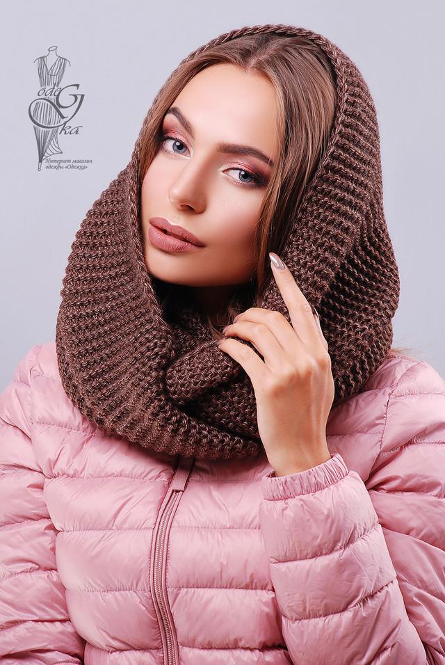 Цвет шоколад Вязаного шарфа Снуд