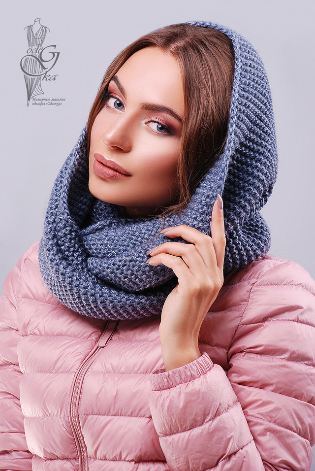 Цвет Джинс Вязаного шарфа Снуд