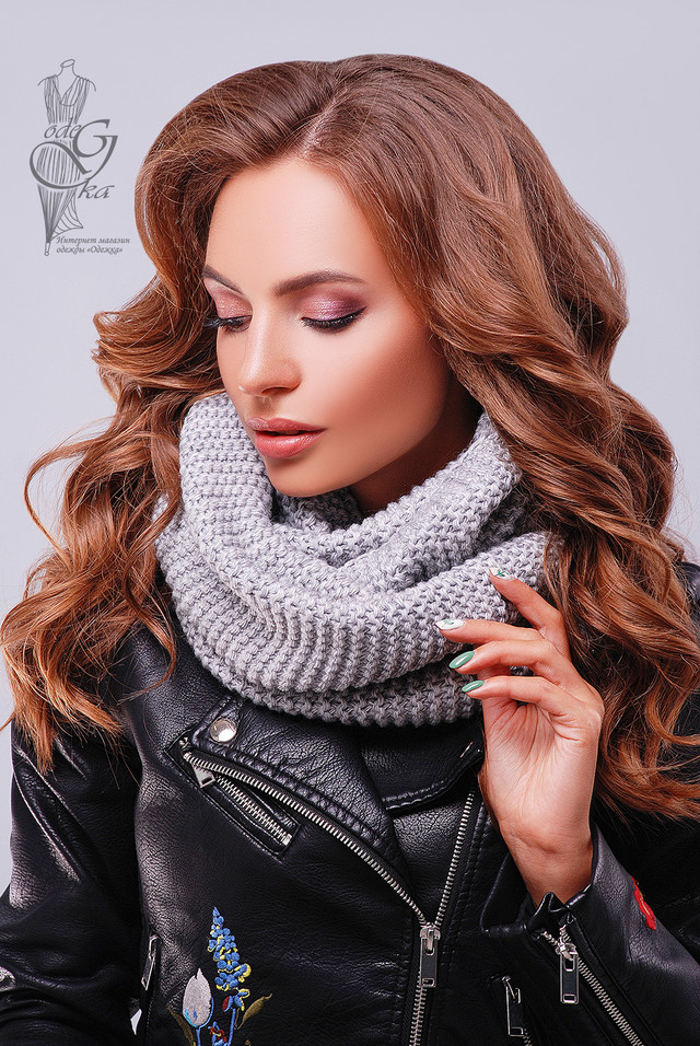 Серый цвет Вязаного шарфа Снуд