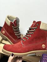 Ботинки зимние Timberland нубук красные
