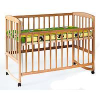 Кровать для детей 1004   деревянная  , качалка/колеса, боковиина опускается, 124-65,5-85см