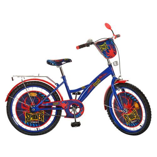 Велосипед детский PROF1 мульт 20д. PS2031   Spider,сине-черный,зеркало,звонок,