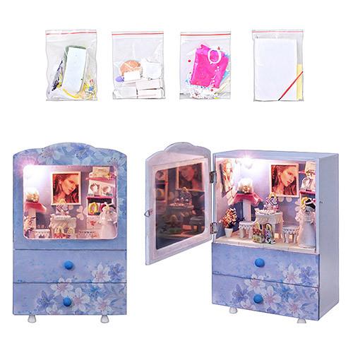 Шкаф KH 159-02   для кукол сделай-сам, деревянный,2ящика,муз,свет,на бат-ке,в кор-ке,25-18-10см