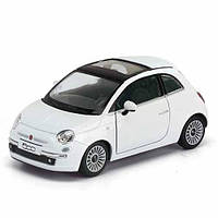 "HU Машинка жел KINSMART KT 5345 W   инер-я, 5"" 1:28 FIAT 500, 4 цвета, откр.двери, в кор-ке"