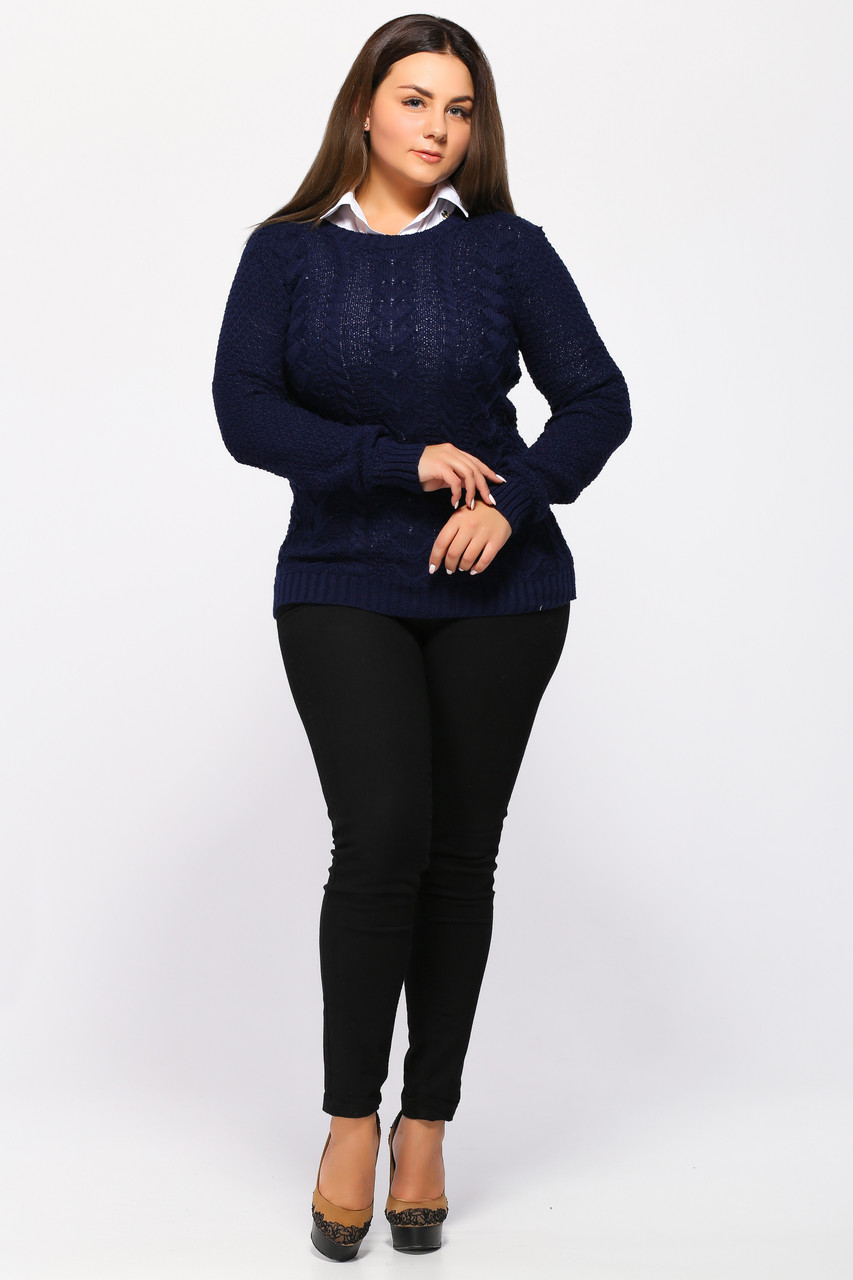 Вязаный свитер женский синий (сердечки)