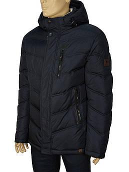 Зимняя мужская куртка с капюшоном Kings Wind 6H33 1# в темно-синем цвете