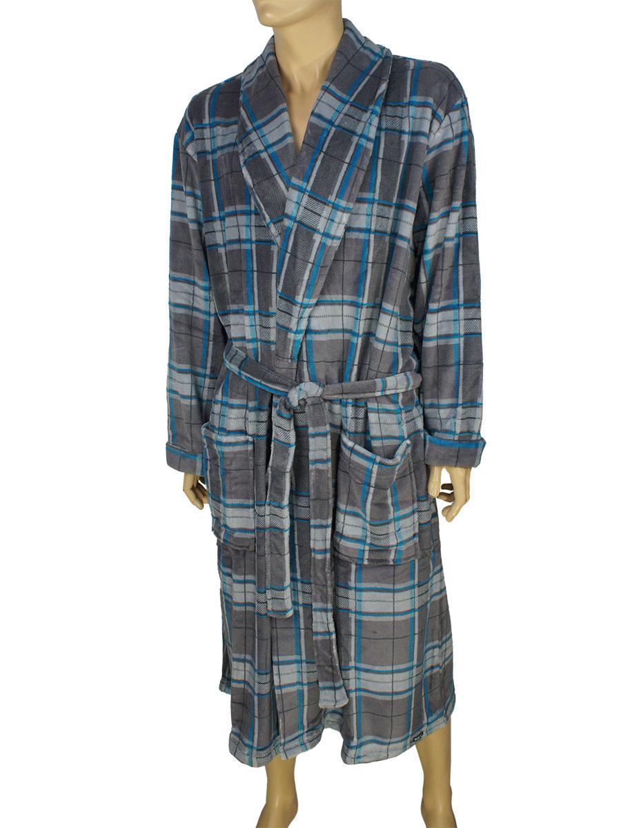 Мужской комбинированный халат Key MGL 477 B6 - Магазин мужской одежды