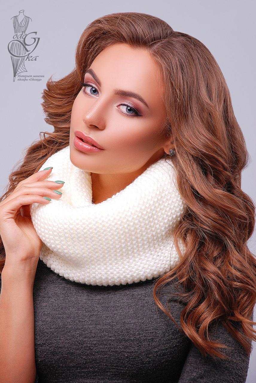 Вязаный шарф Снуд-7 из смесовой пряжи шерсть-акрил