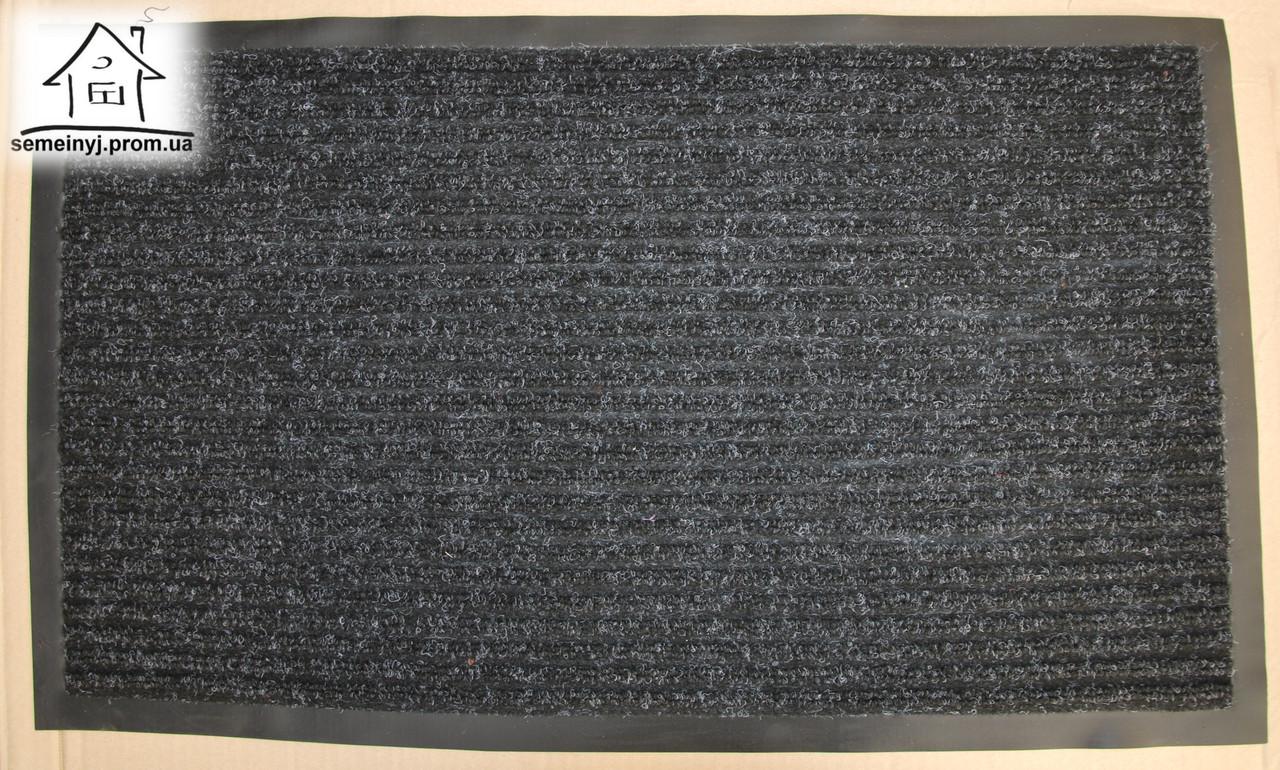 Коврик в прихожую на резиновой основе Полоса К102 73*43 см (черный)
