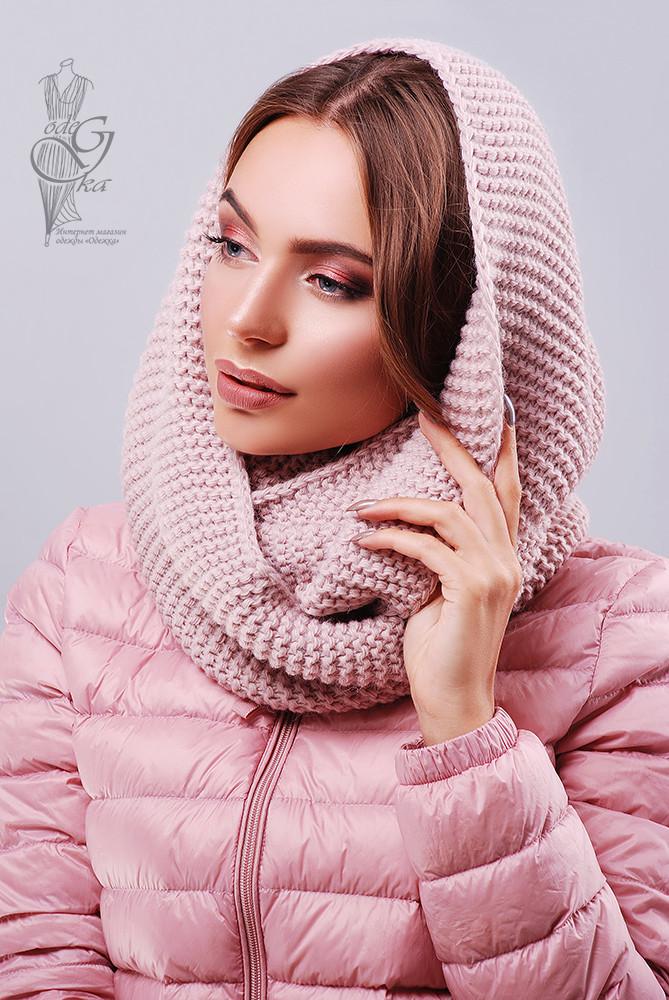 Вязаный шарф Снуд-8 из смесовой пряжи шерсть-акрил