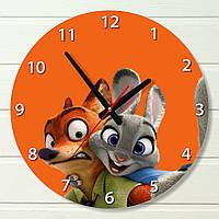"""Настенные часы в детскую - """"Зверополис, оранжевые"""" (на пластике)"""
