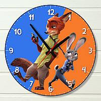"""Настенные часы в детскую - """"Зверополис, сине-оранжевые"""" (на пластике)"""