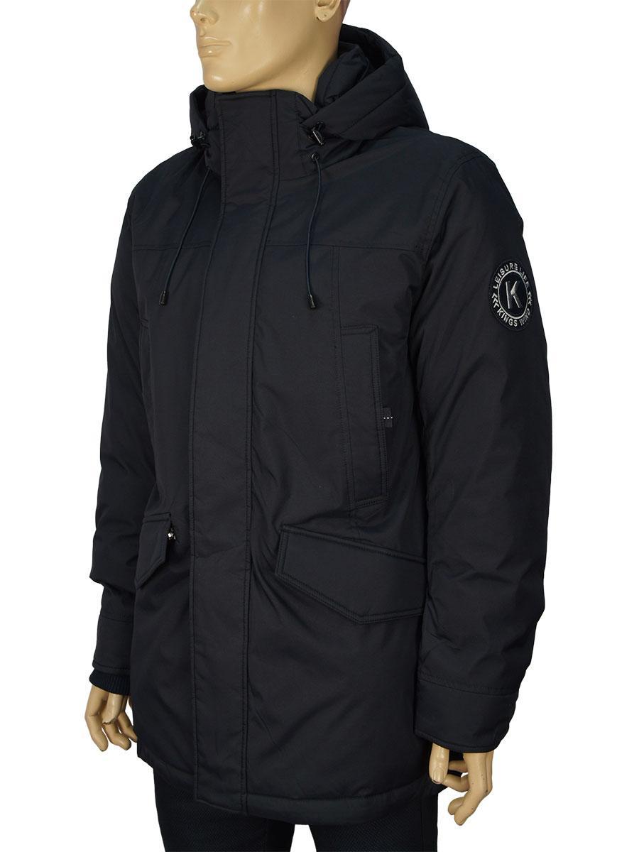 Зимова чоловіча куртка з капюшоном Kings Wind 7W85M в темно-синьому кольорі