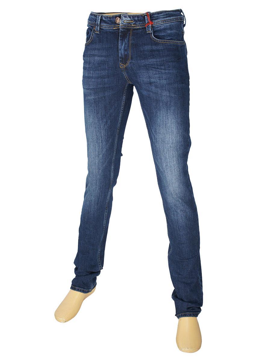 Чоловічі сині джинси X-Foot 261-2337 з потертостями