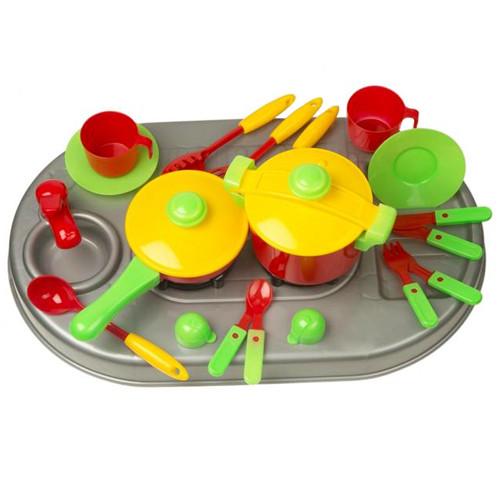 Кухня плита с мойкой и посудой 04-409 Киндервей