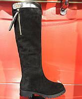 Ботфорты Basconi  с натуральной замши чёрного цвета. Внутри цигейка