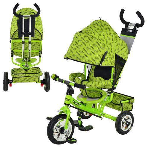 Велосипед М 5361-2  надувные колеса 3шт,колясочный,зеленый,усиленная двойная ручка,